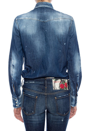 Dsquared2 Womens Western Distressed Blue Denim Shirt