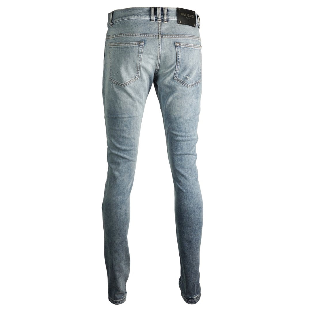Balmain Skinny Reinforced Destroyed Blue Jeans