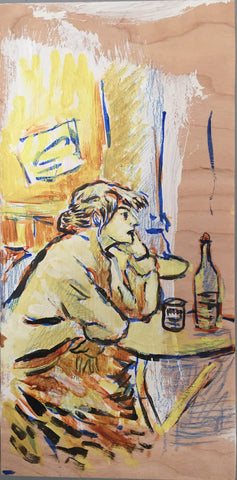 Drinker- after Toulouse Lautrec, Acrylic Painting on Birch Panel