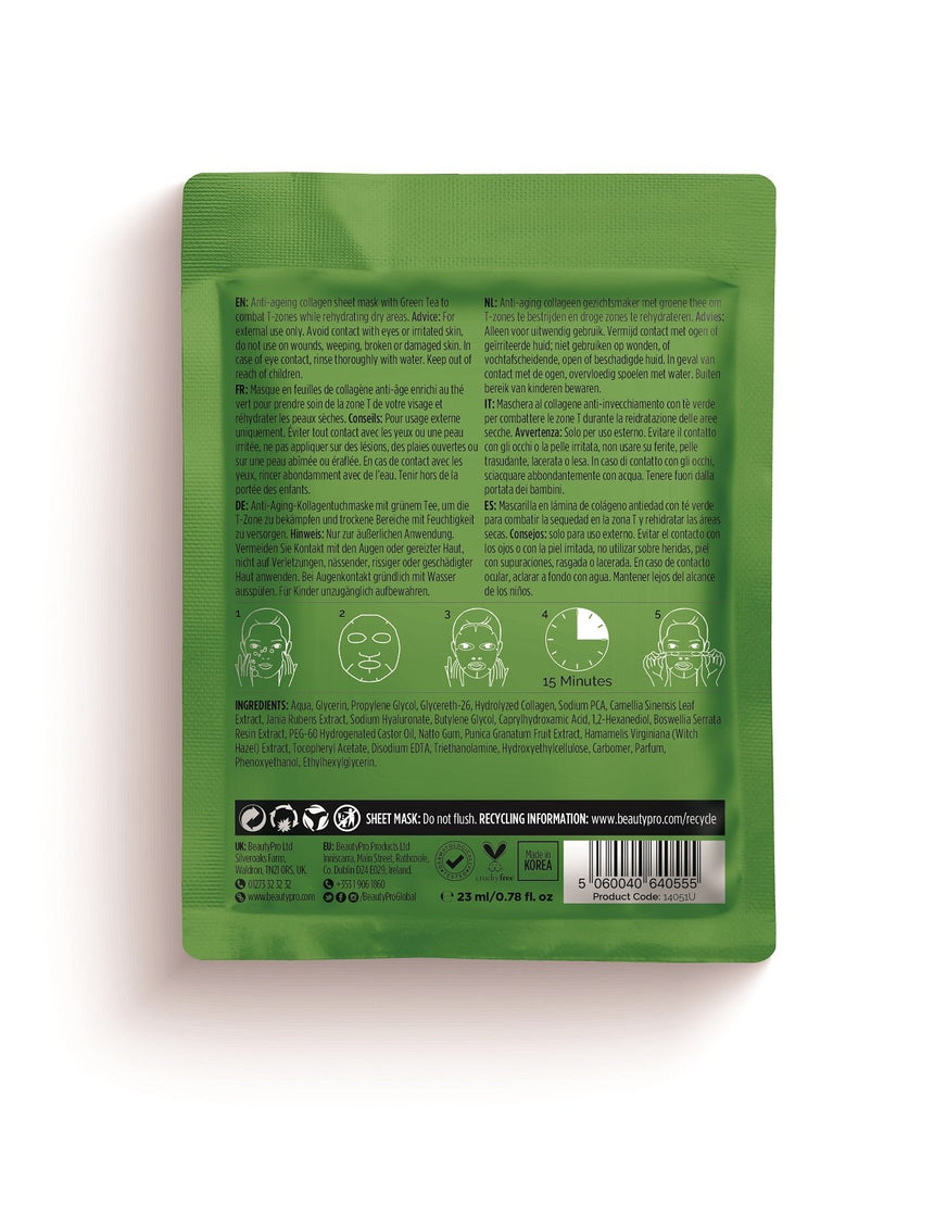Beauty Pro Rejuvenating Collagen Sheet Mask With Green Tea Extract 23g