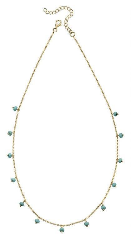 Beginnings Ladies' Gold Plated Sterling Silver Semi Precious Blue Magnesite Bead Station Necklace , Length 40-45cm