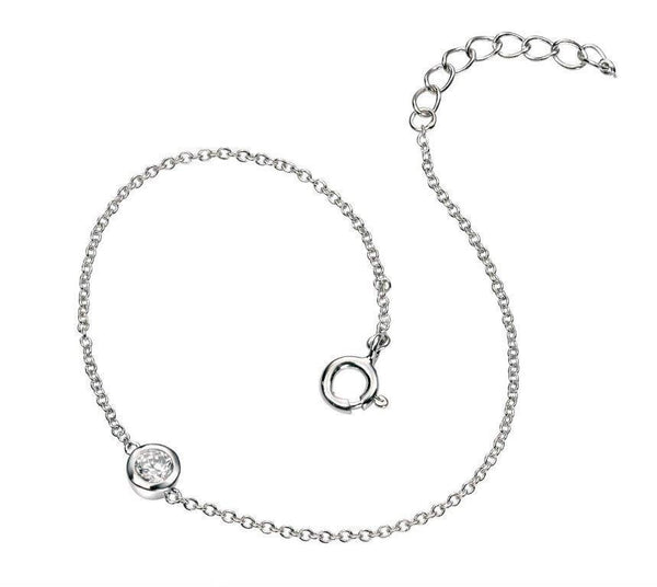 Beginnings Sterling Silver Cubic Zirconia Single Stone Bracelet, Lengthj 17cm Plus 2cm extender