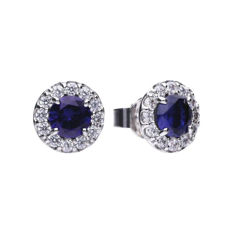 Diamonfire Sterling Silver Cubic Zirconia Halo Earrings with Sapphire Blue Cubic Zirconia, Platinum, Palladium and Rhodium Plated