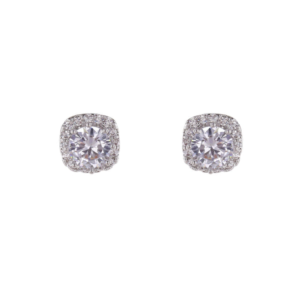 Loverocks CZ Solitaire With Surround Stud Earring