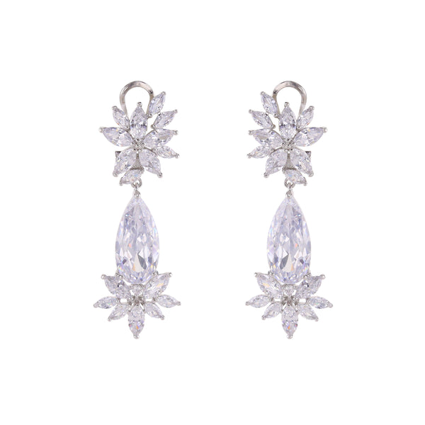 Loverocks CZ Long Tear Elegant Earring