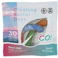 CBD GO! Sour Worms Gummies 30 MG 2 Count FAT FREE!