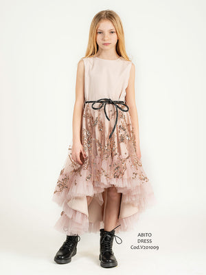 Abito asimmetrico gonna in tulle ricamo paillettes oro rosa
