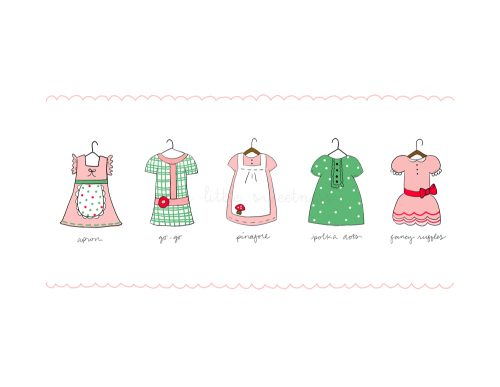 5 Little Dresses - Green Ilustration