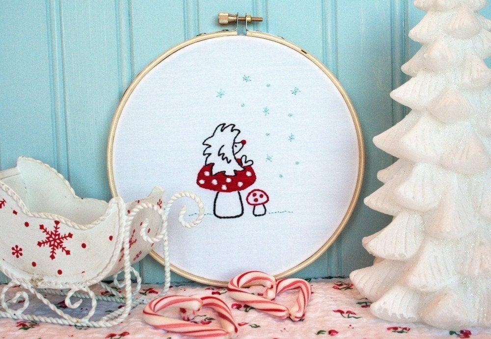 Hedgehog on a Mushroom - A Winter Wish - Embroidery Pattern