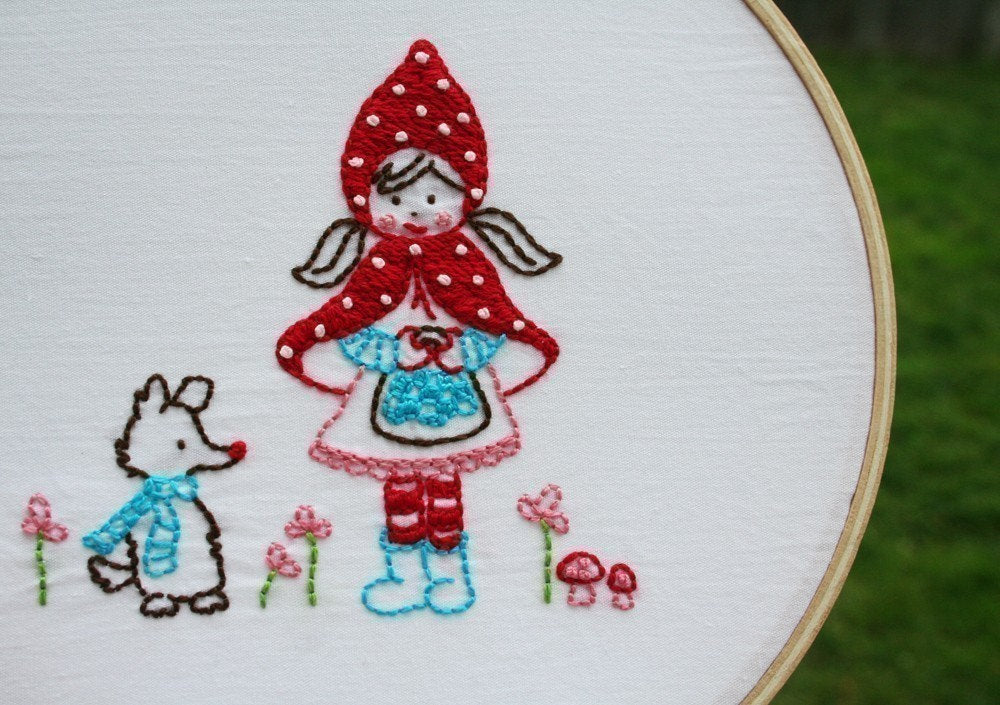 Little Red Riding Hood (and her harmless wolfie friend) Embroidery Pattern