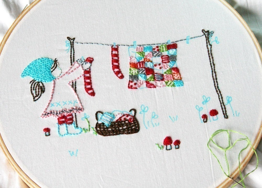 Laundry Day Embroidery PATTERN