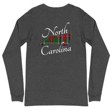 Load image into Gallery viewer, North Carolina State Tartan Unisex Long Sleeve Tee (available in 5 colors)
