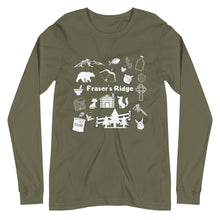 Load image into Gallery viewer, Fraser's Ridge Icons Unisex Long Sleeve Tee (available in 6 colors)