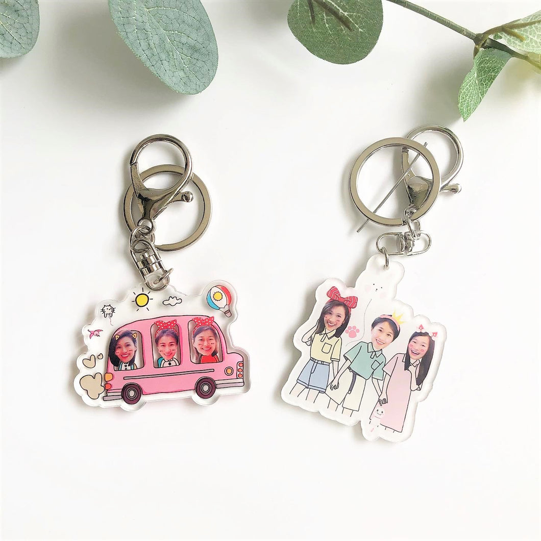 Three Person Cartoon Design Keychain and Magnet