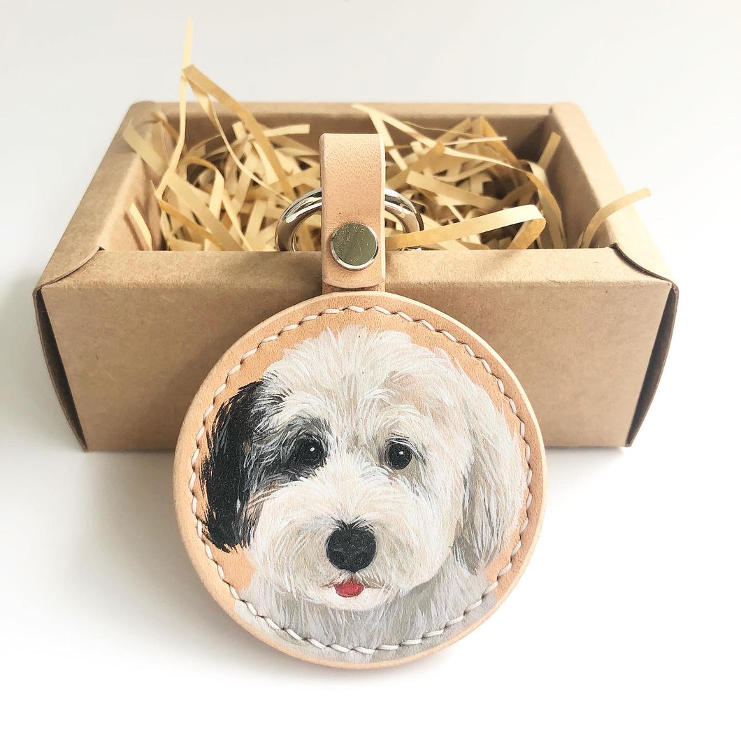Hand-painted Pets Portrait on Leather Key Ring