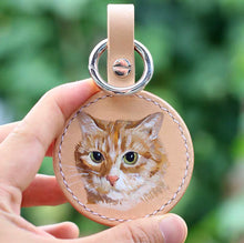 Load image into Gallery viewer, Hand-painted Pets Portrait on Leather Key Ring