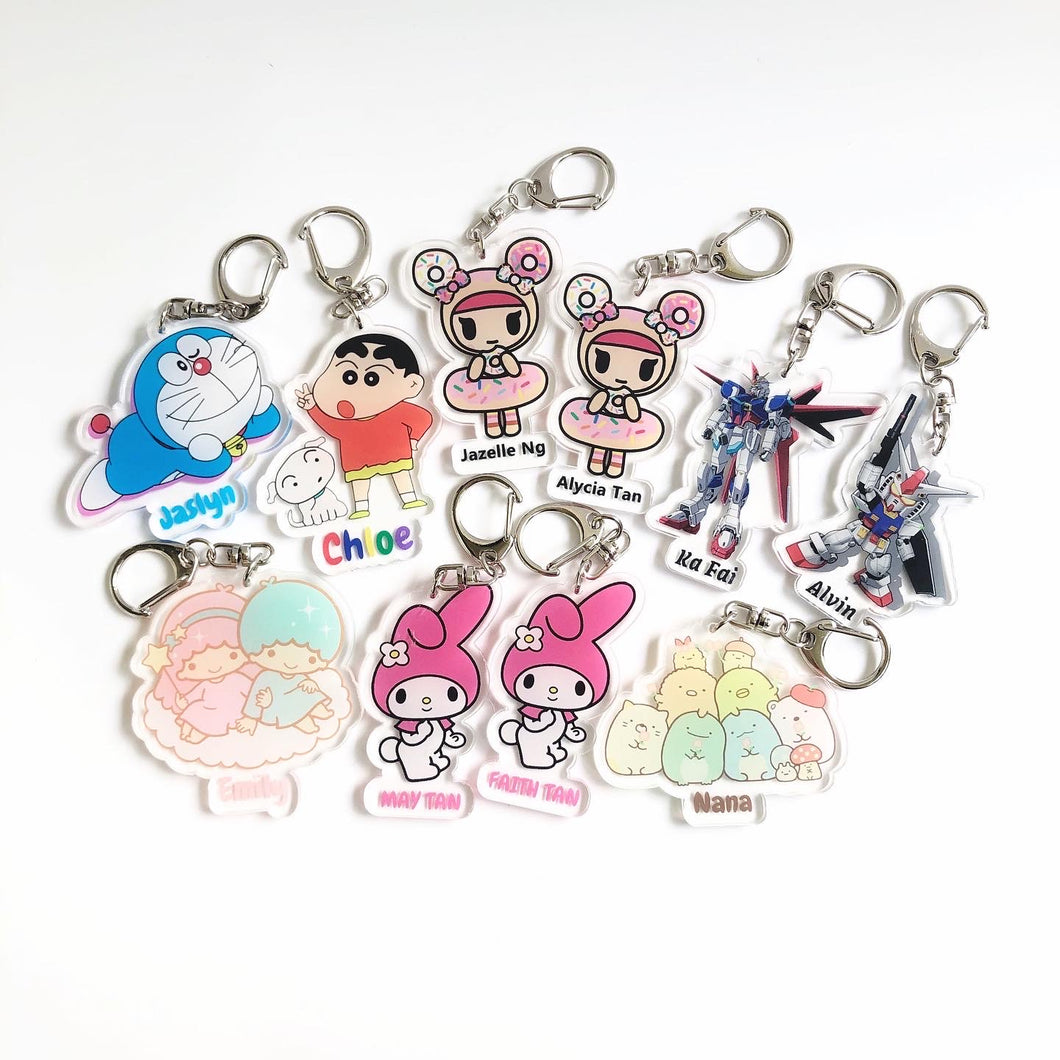Personalised Name Keychain Acrylic Printed For Children Birthday Goodie Bag Cartoon Characters Design