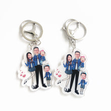 Load image into Gallery viewer, Four Person Cartoon Design Keychain and Magnet
