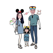 Load image into Gallery viewer, Three Person Cartoon Design Keychain and Magnet