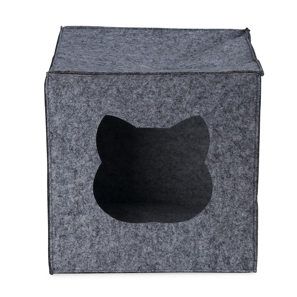 DARK GREY CUBE CAT BED