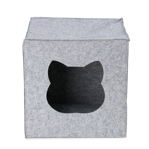 LIGHT GREY CUBE CAT BED