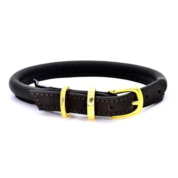 Rolled Leather Dog Collar - Black/Brass