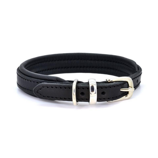 Padded Leather Dog Collar - Black/Silver