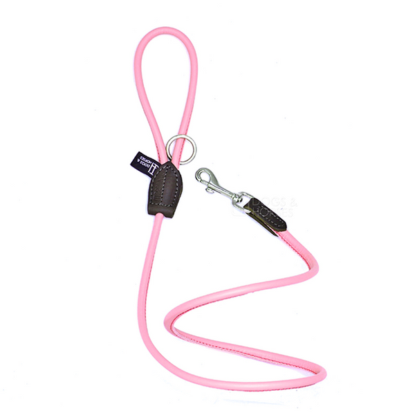 PINK ROLLED LEATHER LEAD