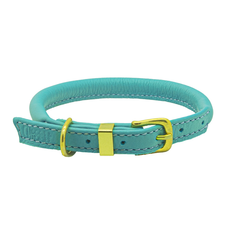 BLUE ROLLED LEATHER COLLAR