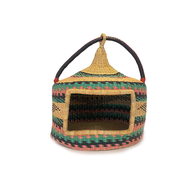 Handcrafted Bolga Pet Basket