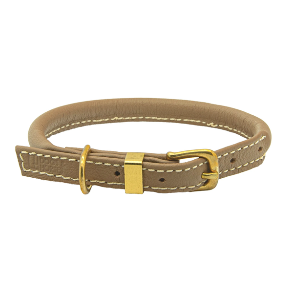 Rolled Leather Dog Collar - Mocha