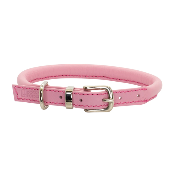 Rolled Leather Dog Collar - Pink