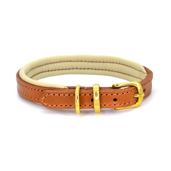 Padded Leather Dog Collar - Tan/Cream