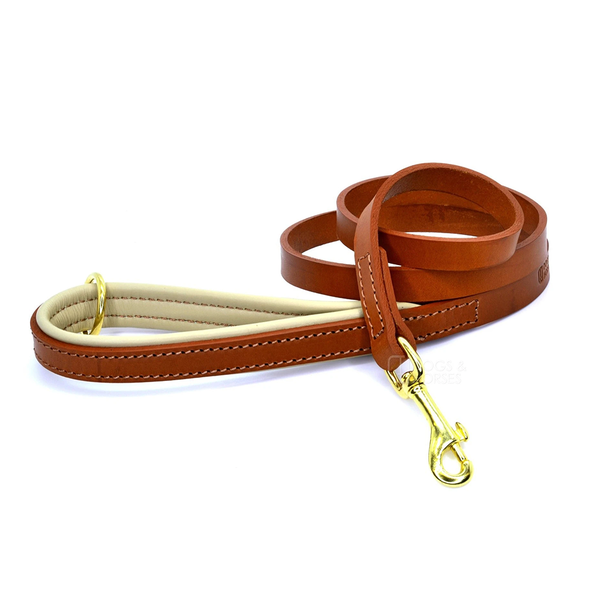 TAN & CREAM PADDED LEATHER LEAD