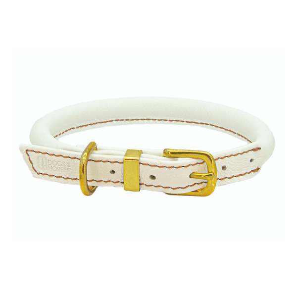 Rolled Leather Dog Collar - White