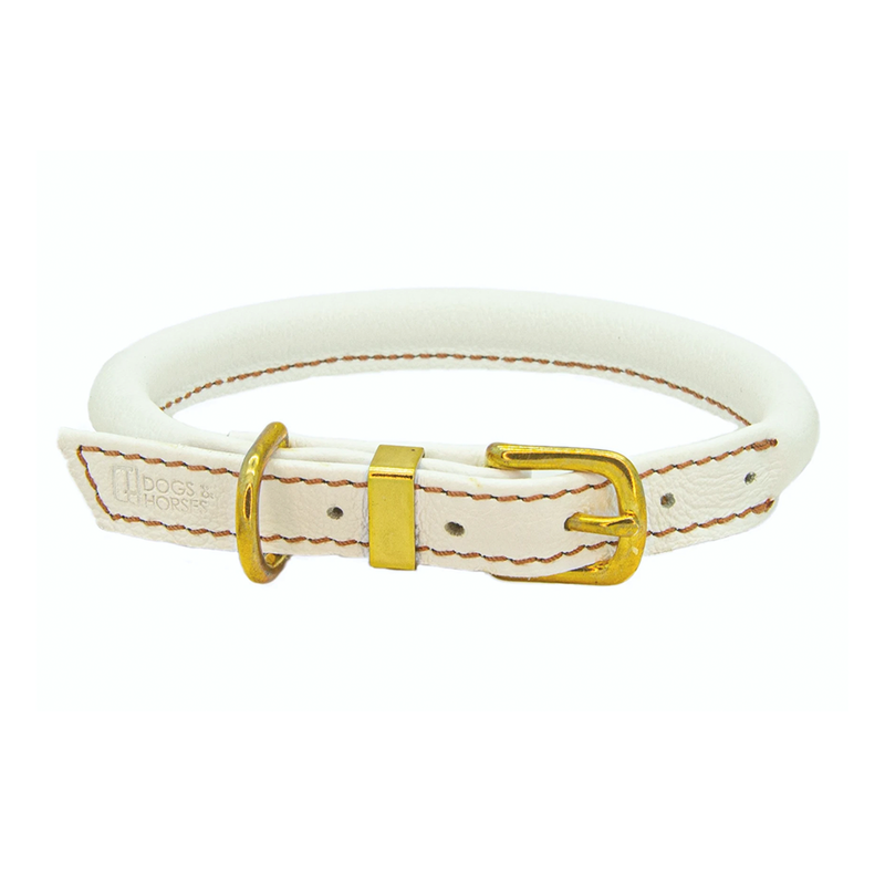WHITE ROLLED LEATHER COLLAR