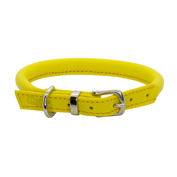 Rolled Leather Dog Collar - Yellow