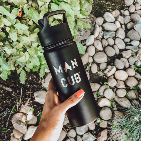 "18oz Water Bottle ""Man Cub"" - Black"