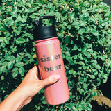 "18oz Water Bottle ""Sister Bear"" - Rose Quartz"