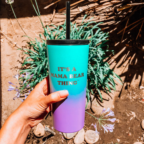 "20oz Tumbler ""it's a mama bear thing"" - Tropical Seas"