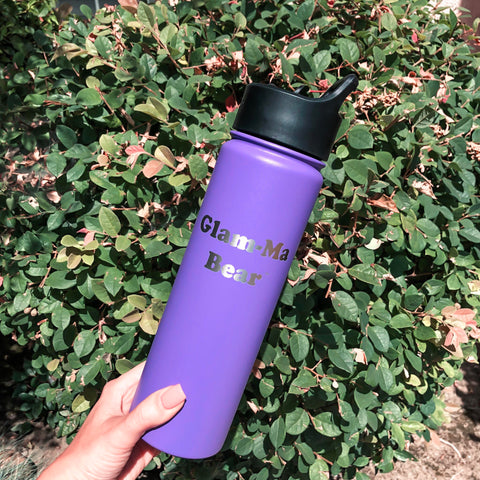 "22oz ""Glam-ma Bear"" Water Bottle - Lilac"