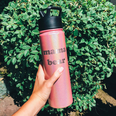 "22oz Water Bottle ""Mama Bear"" - Rose Quartz"