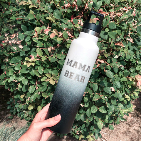 "24oz Water Bottle ""Mama Bear"" - Tuxedo"