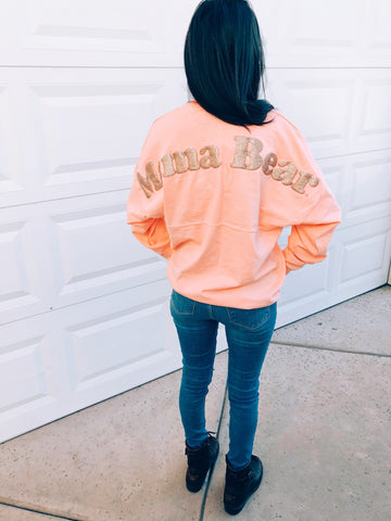 "Spirit Jersey ""Mama Bear"" Vintage Coral w/ Rose Gold Glitter"