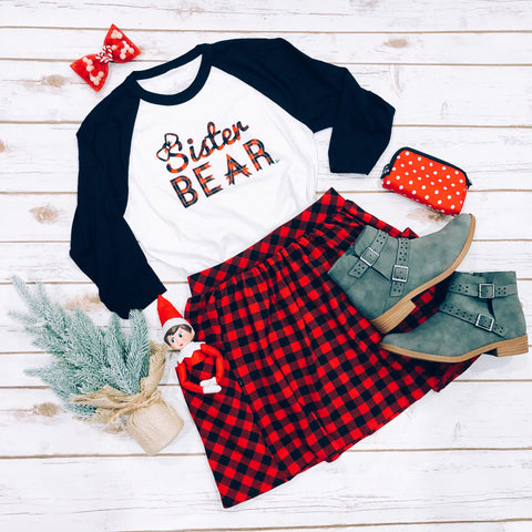"""Sister Bear"" Toddler Plaid Ink/ Black Sleeve Raglan"