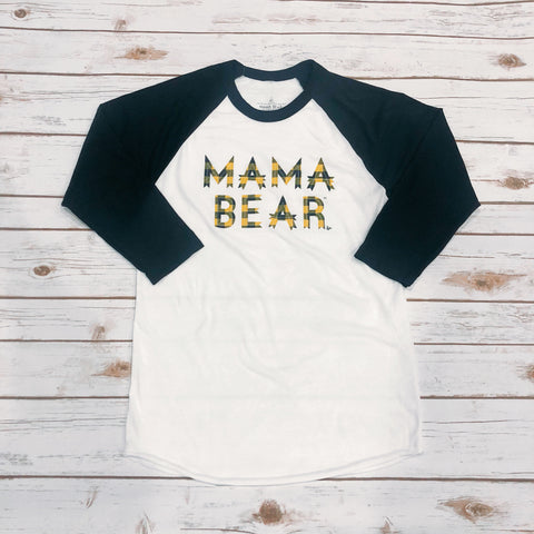 "Black Sleeve ""Mama Bear"" Raglan Honey Yellow Plaid Ink"