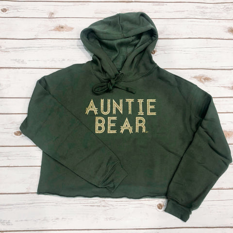 """Auntie Bear"" Military Green hooded Crop Fleece"