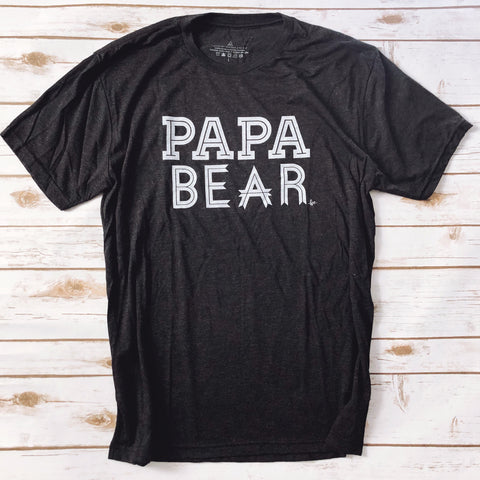 """Papa Bear"" Tri-Black w/ White Ink Tee"
