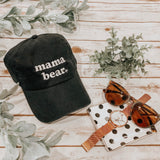 """Mama Bear"" Black Baseball Hat White Thread (retro font)"