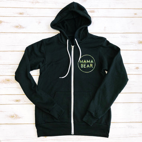 "Zip Up Fleece ""Mama Bear"" Camo Ink Design"